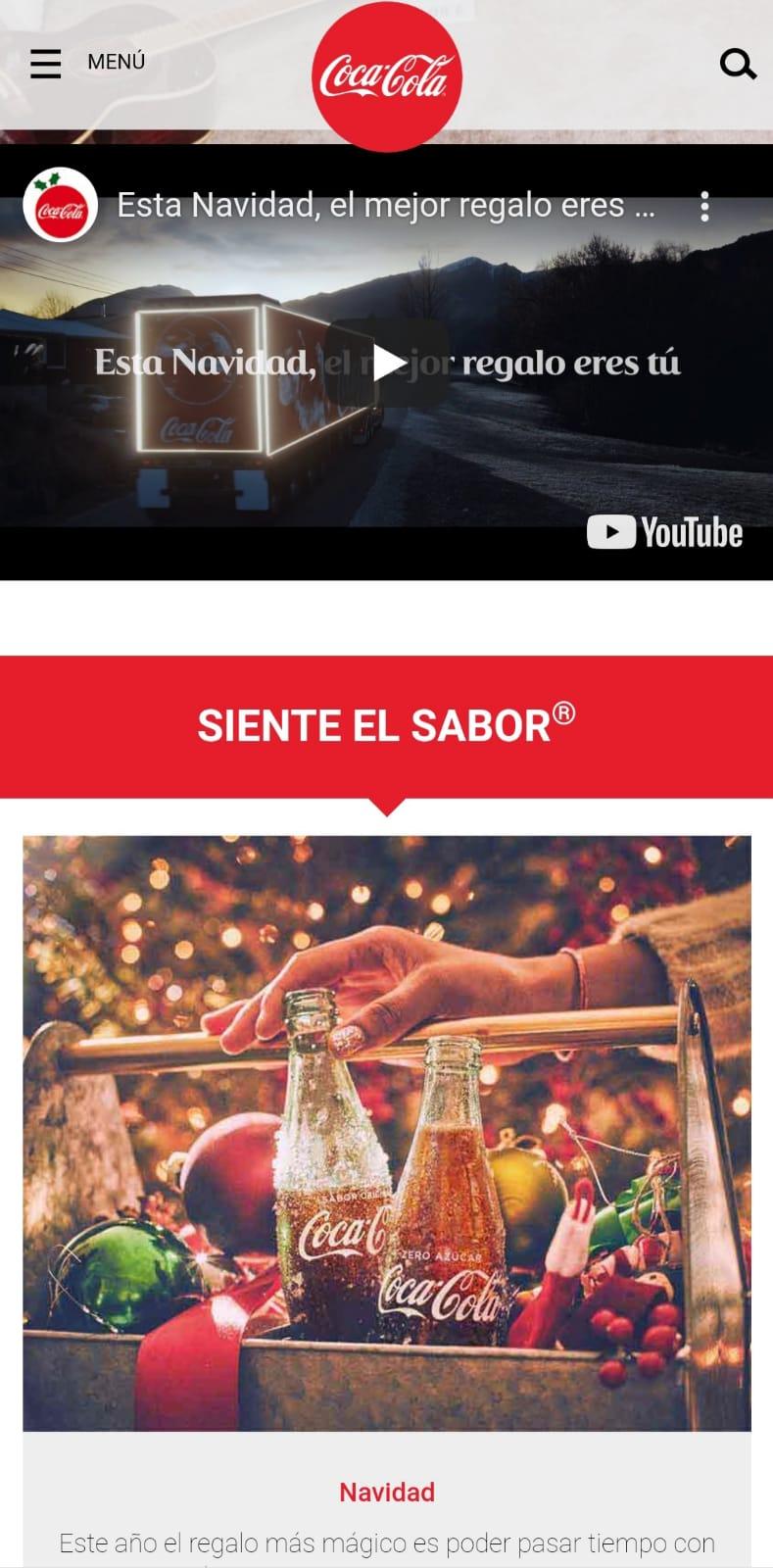 Página web cocacola españa decorada navidad