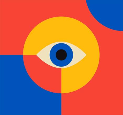 Ojo con formas geométricas y colores vivos
